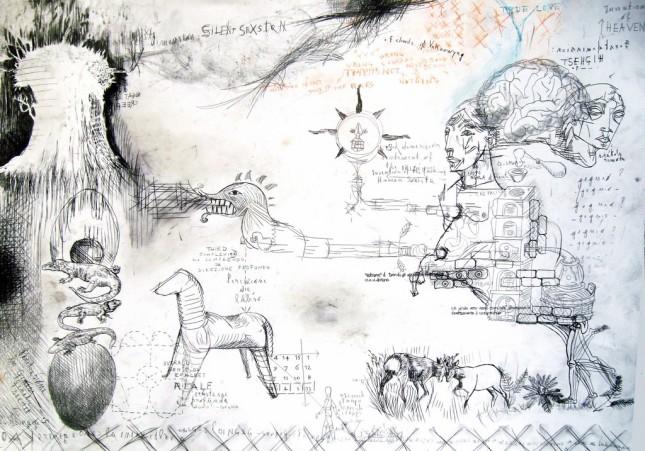 Mauro de Carli, Last Knowledge,70x100 cm, penna su carta,2009